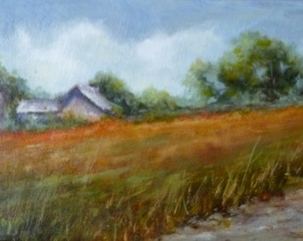GRAY BARN oil painting landscape 4 x 6 x  3/4 inches
