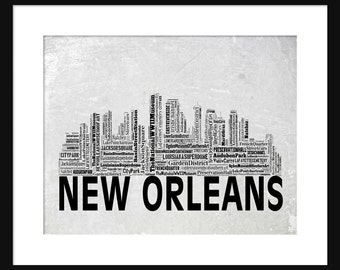 New Orleans Skyline Word Art Typography Typographical Print Poster Gray Grunge