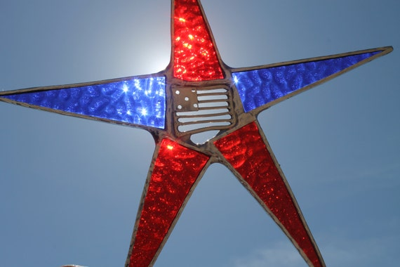 Harward's Honor Star- 9 inch stained glass star with metal flag center