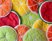 mix and match fruit slices potholders - tutti frutti potholders - pick your flavor garden summer party - kiwi lime lemon watermelon orange