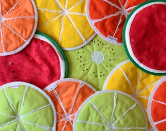healthy fruit slices potholders - pick your own set of potholders - mix your flavor garden summer party - kiwi lime lemon watermelon orange