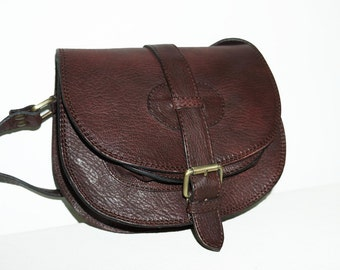 RUSTIC Leather SADDLE Bag Purse Shoulder Cross body Bag Messenger Goldmann S in mahogany brown