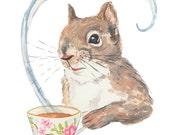 ORIGINAL Squirrel Watercolor - 8x10 Animal Watercolour, Squirrel Drinking Tea, Tea Cup, Kitchen Art