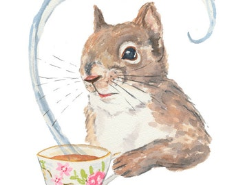 ORIGINAL Squirrel Watercolor - 8x10 Animal Watercolour, Squirrel Drinking Tea, Tea Cup, Kitchen Art