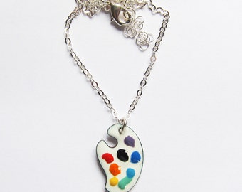 Artists enameled palette necklace Artists gift Painters pendant Enamel art jewelry Gift for her