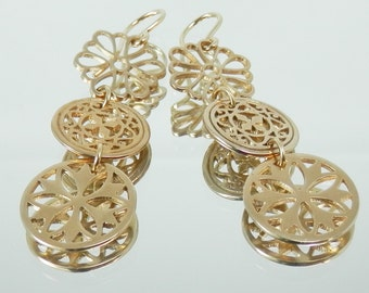 Bronze Filigree Earrings with Gold Filled Ear Wires