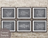 Butcher Diagram Series Set of 6 - Art Print (Featured in Charcoal) Chicken, Tuna, Pig, Lamb, Salmon and Cow
