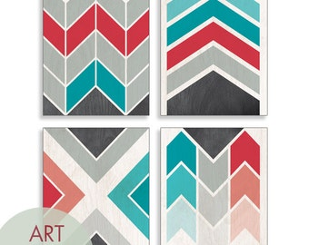 Geometric Chevron (Geo-Metro Series D) - Set of 4 - Art Prints (Featured in C - Red and Turquoise) Geometric Pattern Art Prints