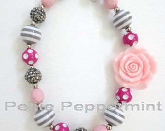 Pink and Gray Toddler Chunky Necklace,Baby Chunky Necklace,Children Necklace,Baby Bead Necklace,Toddler Necklace,Baby Necklace