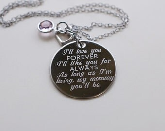 I'll love you forever MOMMY VERSION --- engraved quote necklace