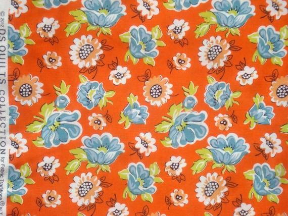 Blossom Reel Floral Orange Ds Quilts Denyse Schmidt Fabric