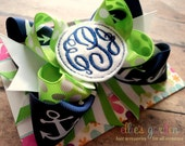 Embroidered Script Circle Three Initial Monogrammed Boutique Style Hair Bow Navy Lime Green White Anchors