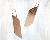 Hammered Sterling and Bronze Earring, Shale Earring, Large