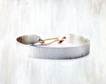 Silver and Bronze Textured Bracelet, Regular Shale Bracelet