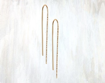 Gold and Rose Gold Textured Hook Earring, Trace Hook