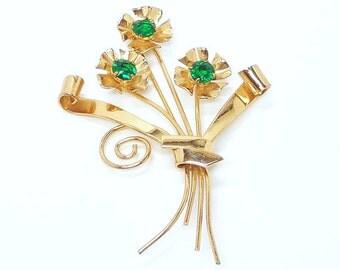 Vintage Sterling Flower Bouquet - Designer Signed Coro Brooch - Green Rhinestones