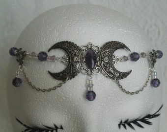 Amethyst Triple Moon Goddess Circlet, wiccan jewelry pagan jewelry wicca jewelry goddess jewelry witch witchcraft metaphysical handfasting