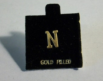 Vintage Letter N Initial N on Flocked Card Marked Gold Filled Earrings Scatter Pin