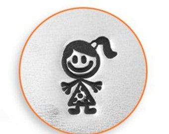 Metal Stamp-Sara or Girl Stick Figure Metal Design Stamp ImpressArt- 6mm  Metal Stamping Tool-Steel Stamp-Metal Supply Chick