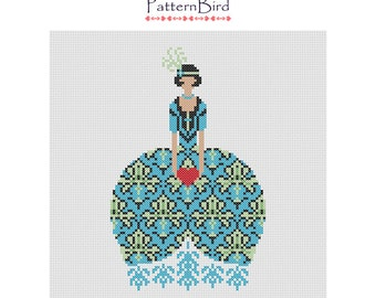 Deco girl with heart. Instant Download PDF Cross Stitch Pattern