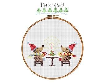 Hedgehog Christmas. Instant Download PDF Cross Stitch Pattern