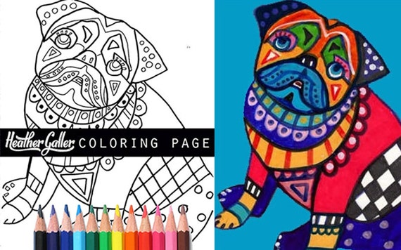 Pug coloring book art pages, Dog adult coloring book, coloring pages, adult coloring pages, coloring book for adults, printable