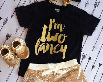 2nd Birthday Shirt I'm TWO Fancy Birthday Girl Shirt Im so Fancy Shirt Fancy birthday Shirt