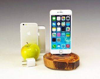 Charging station for ANY iPhone including 6 and 6 plus.. Includes wall charger. 728. Reclaimed log slice. Live edge. FAST shipping.