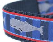Whale Dog Collar, Adjustable Ribbon Dog Collar, Nautical Ocean Pet Collar