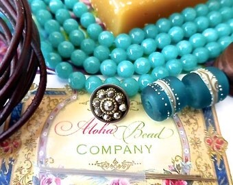 NEW Beading KIT for Maui Three Wrap Leather Bracelet in 6mm Faceted Round Teal/Aqua Green Quartz Gemstone Beads and Brown Distressed Leather