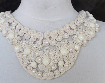 Ivory color   embroidered and beaded   applique