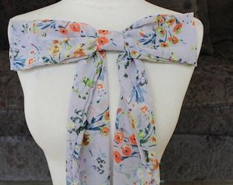 Cute chiffon bow with flower print