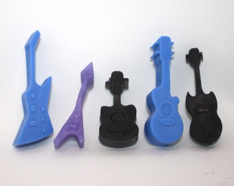5 Guitar Soaps - acoustic, electric, rock 'n' roll, musician, party favor, rock band, country, western, pop, alternative, music, six-string