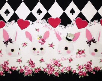 "Rabbit, , Sweets  Carld Alice in wodnderland Lolita Japanese Kawaii Black  100cm length by 110cm Wideth or 39"" by 42"""