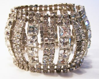 Bridal Crystal Rhinestone Bracelet 2 Inches Wide Silver Tone Setting Wedding Jewelry Mid Century Jewelry 615DG