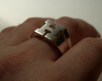 Initial H Ring Sterling Silver