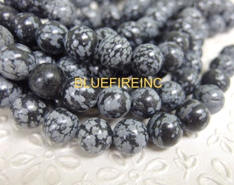 8 inch Large Hole Black Snow Flake Jasper  Beads Smooth 12mm round with 2mm Drilled hole
