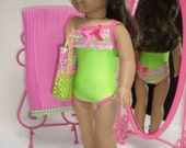 Green & Pink Swimsuit, beach mat, tote and espadrilles 18 inch doll clothes