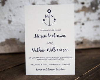 Anchor Wedding Invitation, Nautical Wedding Invitation- Anchor Kraft Wedding Suite : A7 Wedding Invitations