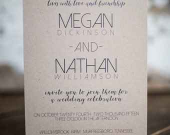 Wedding Invitation, Modern Wedding Invitation, Simple Invitation, Simple (Kraft) Wedding Suite : A7 Wedding Invitations