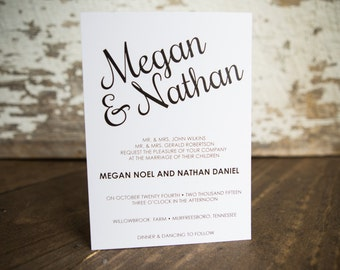 Wedding Inviation, Calligraphy Invitation- Modern Script Wedding Suite : A7 Wedding Invitations + RSVP + Coordinating Envelopes
