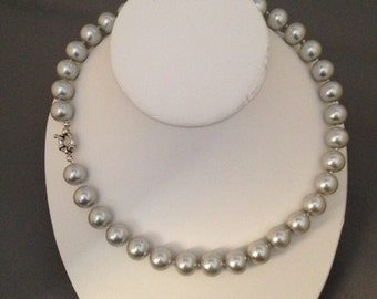 Gray south sea shell pearl necklace, 18 inches, 12mm, silver plated clasp (22)
