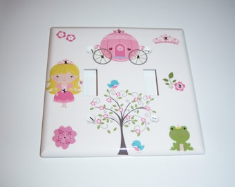 Princess Double Light Switch Cover, Baby Gift, Nursery,  Swarovski Crystals, Carriage, Tree, Frog, Your Little Princess