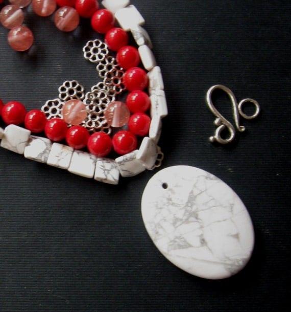 Diy Jewelry Kit Howlite Pendant And Beads Jade Beads Cherry
