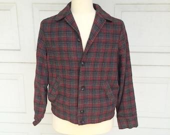 Mr California 60s Vintage Plaid Flannel Shirt Jac Jacket Shirt Red Gray Wool Rockabilly Work Shirt Medium Large 44