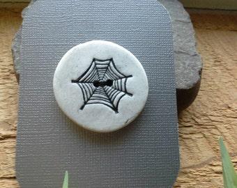 Ceramic Button Spider Web round