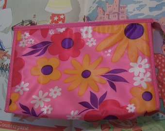 little flowery pink vinyl bag