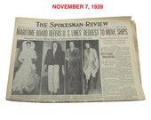 """November, 1939 Newspaper - Spokane, WA Spokesman-Review """"World War Two News"""""""