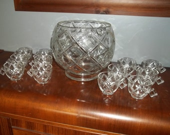 Vintage Punch Bowl and Cups