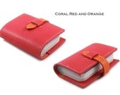 Credit Card Organizer Wallet in Coral Red and Orange Caviar Pattern Embossed Leather